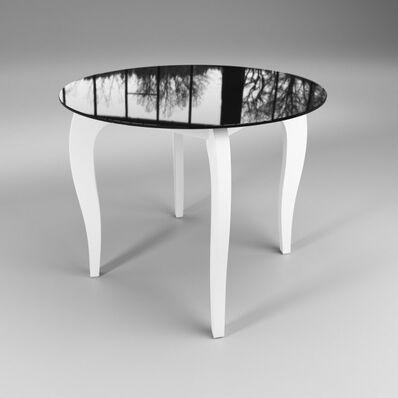 Стеклянный стол Император круглый контраст