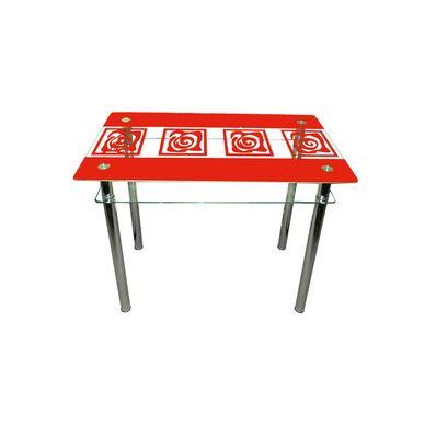 Стеклянный стол Улитки красный