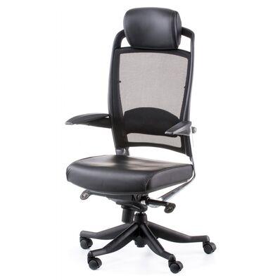 Кресло Fulkrum black lеathеr, black mеsh