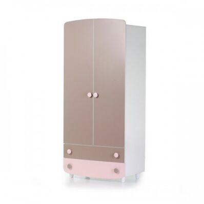 Шкаф №1 ДСП капучино-розовый
