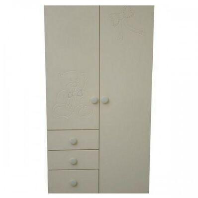 Шкаф №2 МДФ Мишка белый